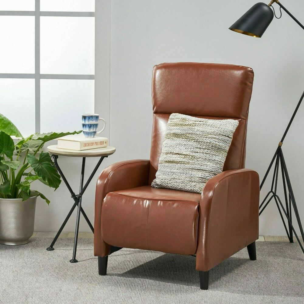 Modern Design Hazelnut Brown Padded Leather Armchair ...