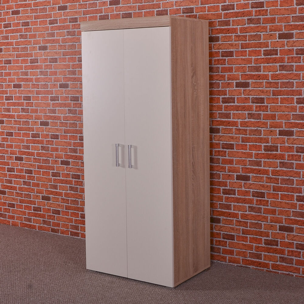 2 Door Double Wardrobe In White Sonoma Oak Effect Bedroom Furniture C