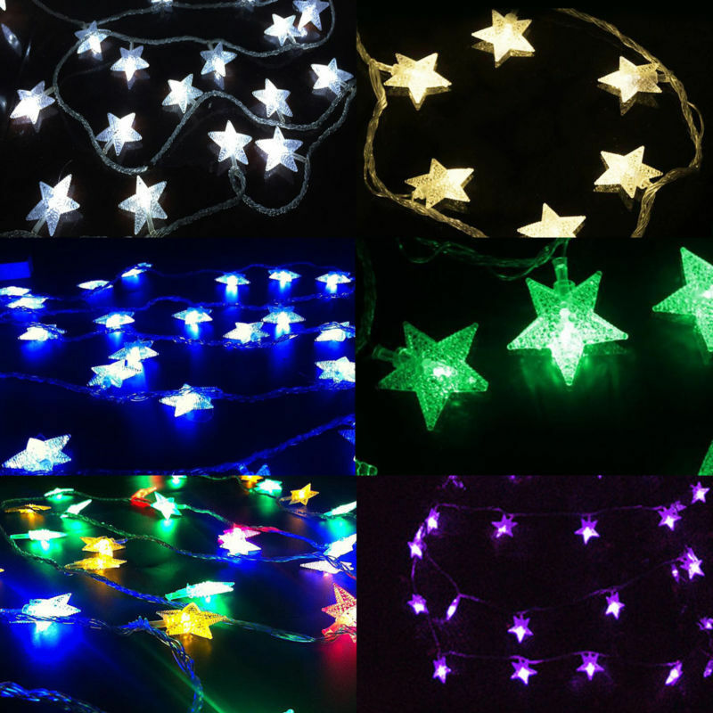 battery powered led funky on twinkling star shape lamp fairy string. Black Bedroom Furniture Sets. Home Design Ideas