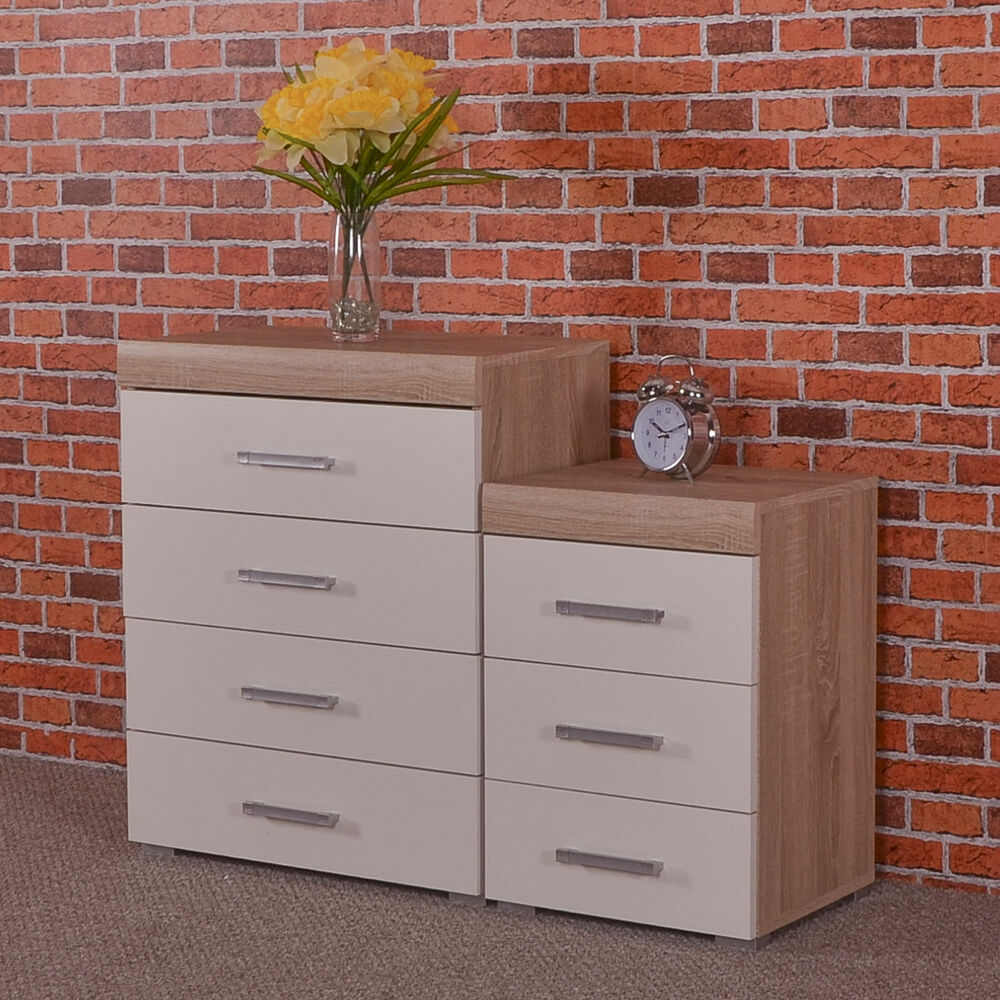 White & Sonoma Oak 4 Drawer Chest & 3 Draw Bedside Cabinet ...
