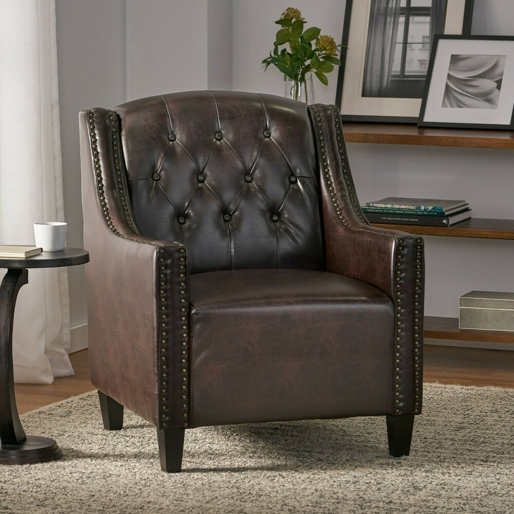 Luxury Tufted Back Espresso Leather Upholstered Club Chair
