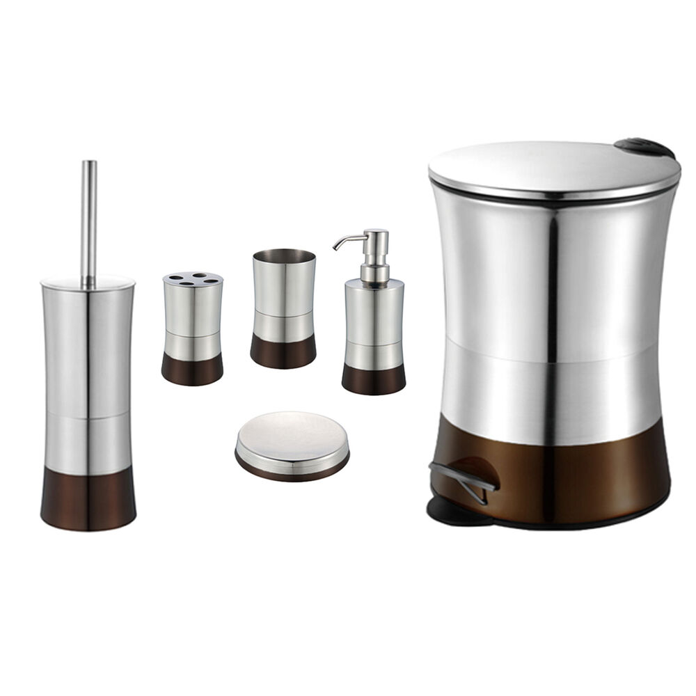 Brown 6 piece bathroom accessory set stainless steel for Bathroom picture sets