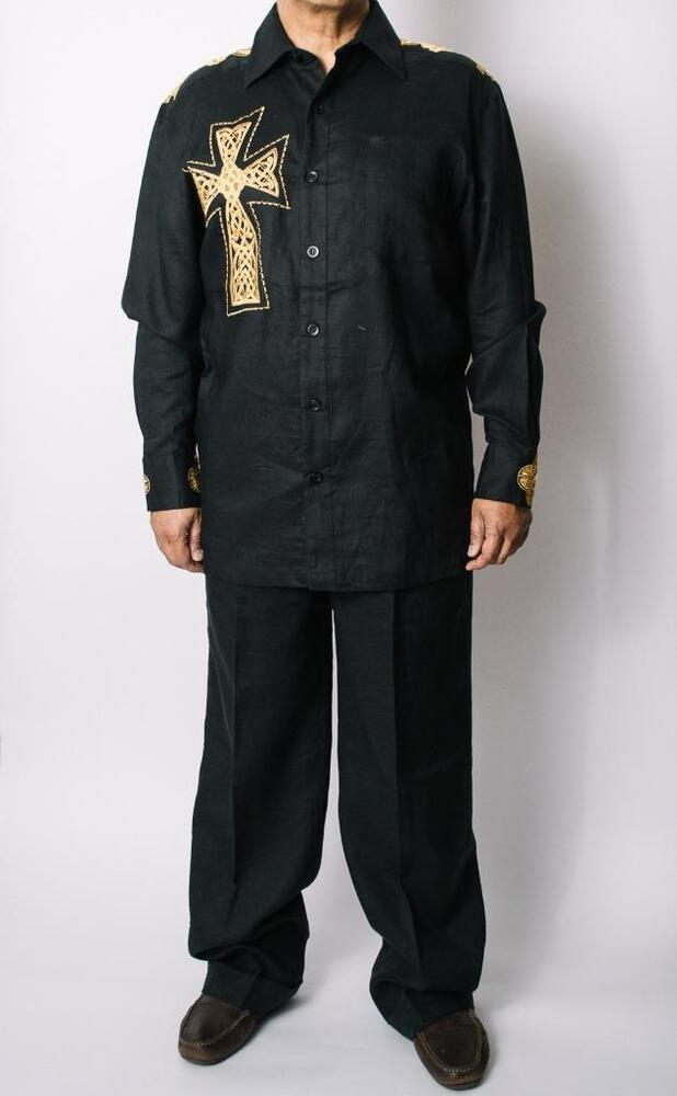Men S Prestige Black Linen Cross Emb 2 Pc Shirt And Pants