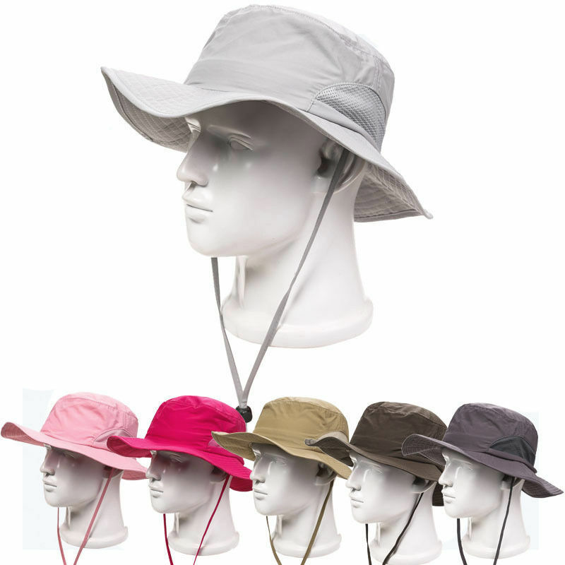Outdoor mens womens fishing hunting boonie wide brim for Fishing sun hat