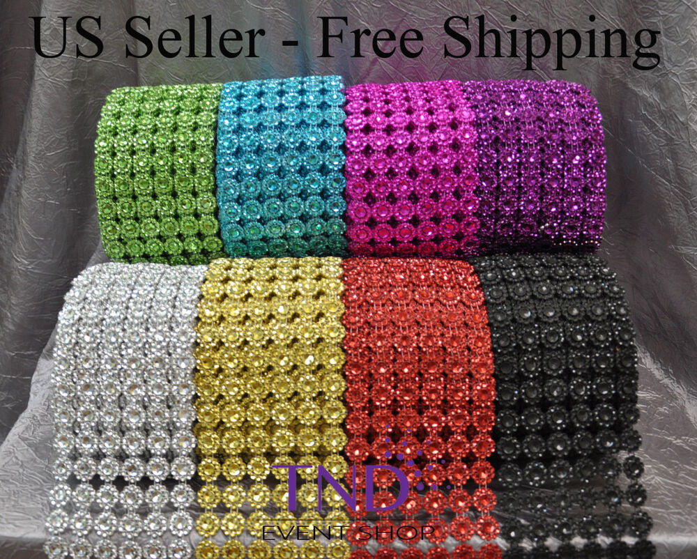 3 75 Quot X1 10 Yrds Flower Diamond Mesh Wrap Roll Crystal