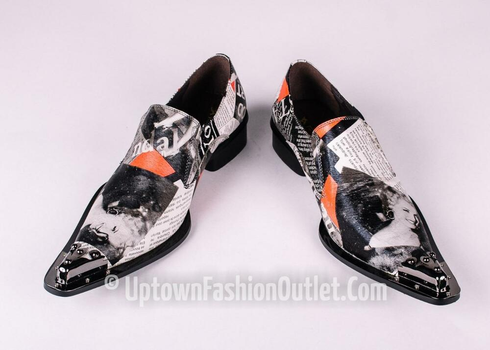New Men's Fiesso Marilyn Monroe Print Pointed Metal Toe ...