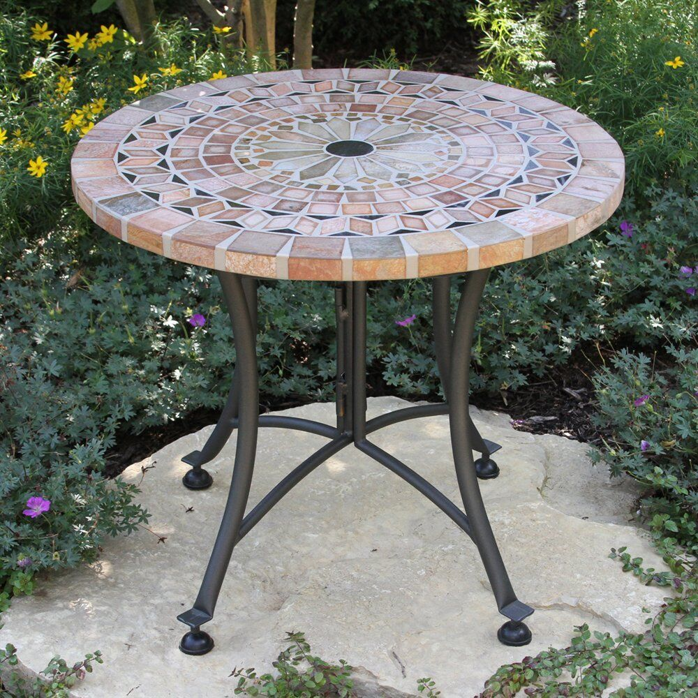 outdoor interiors 31224 ms sandstone mosaic accent table ebay. Black Bedroom Furniture Sets. Home Design Ideas