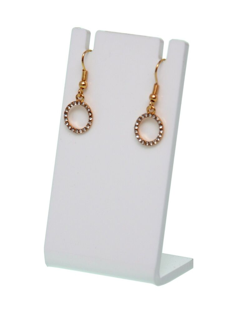 lot of 2 earring necklace jewelry white acrylic display. Black Bedroom Furniture Sets. Home Design Ideas