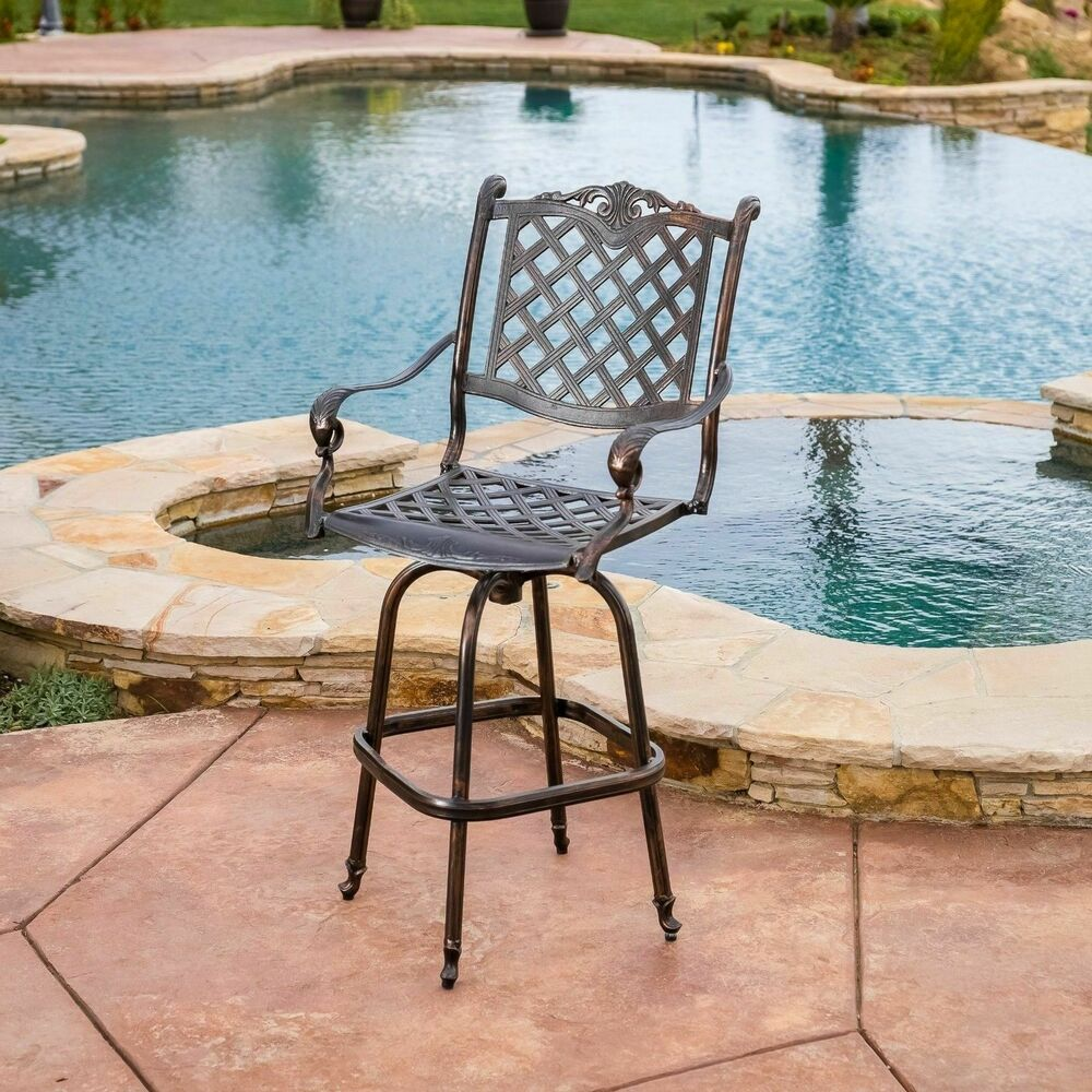 Outdoor Patio Furniture Cast Aluminum Swivel Bar Stool In Antique Copper EBay