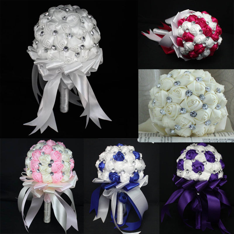 Handmade Wedding Flowers: Fashion Wedding Bride Bouquet Crystal Silk DIY Wedding