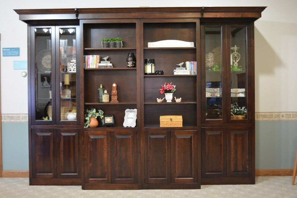 library murphy bed full size glass doors sliding cabinets bookcases headboard ebay. Black Bedroom Furniture Sets. Home Design Ideas