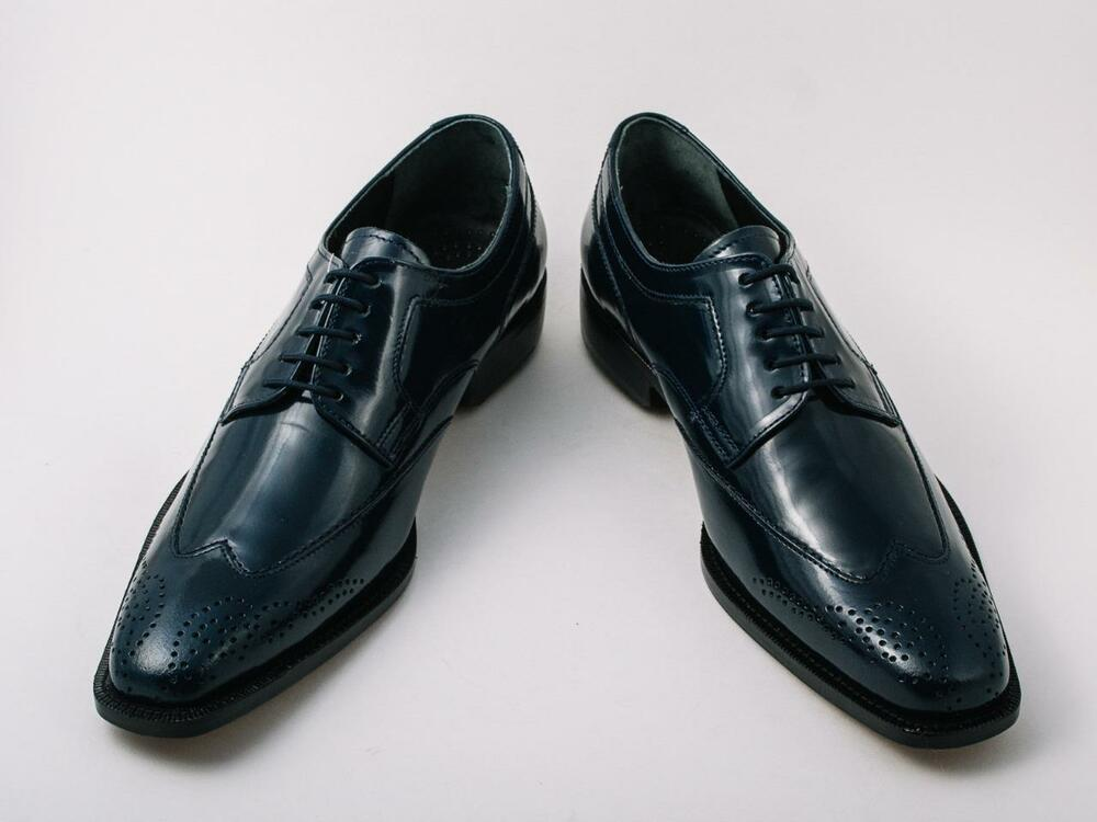new s liberty navy blue leather wing tip oxford dress