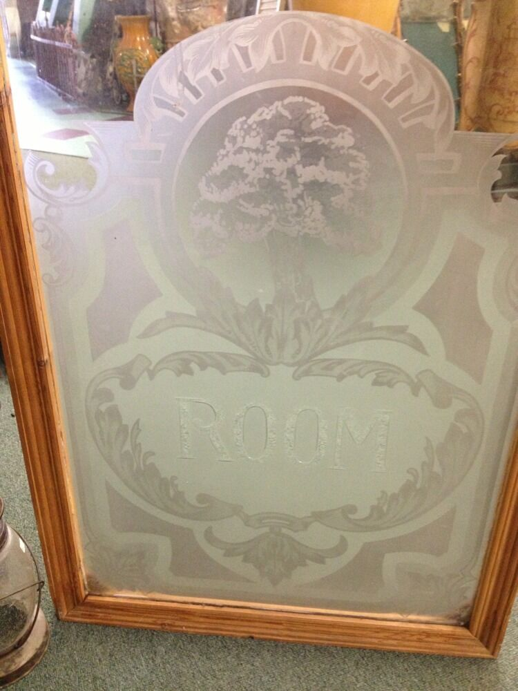 Antique old vintage craftsman art deco style etched glass for Glass windows