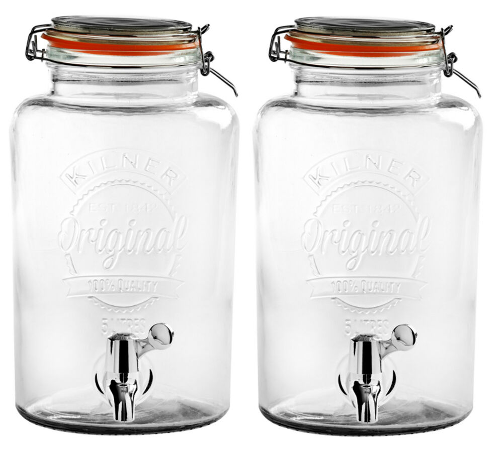 2 x kilner 5l clear drinks dispenser party bbq wine for Cocktail 5l
