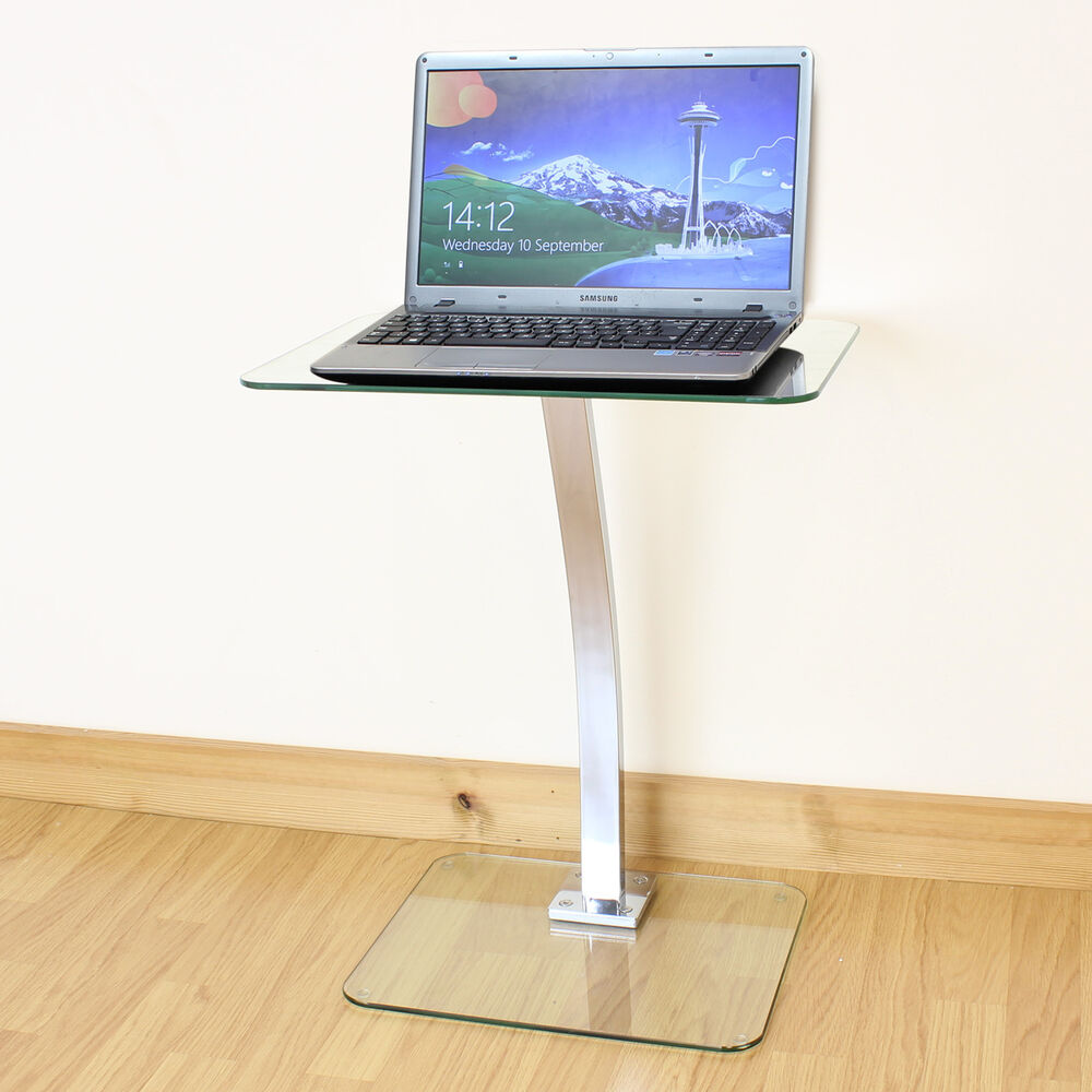 Clear Glass Laptop Notebook Table Desktop Stand Sofa Office Computer Desk Tray Ebay