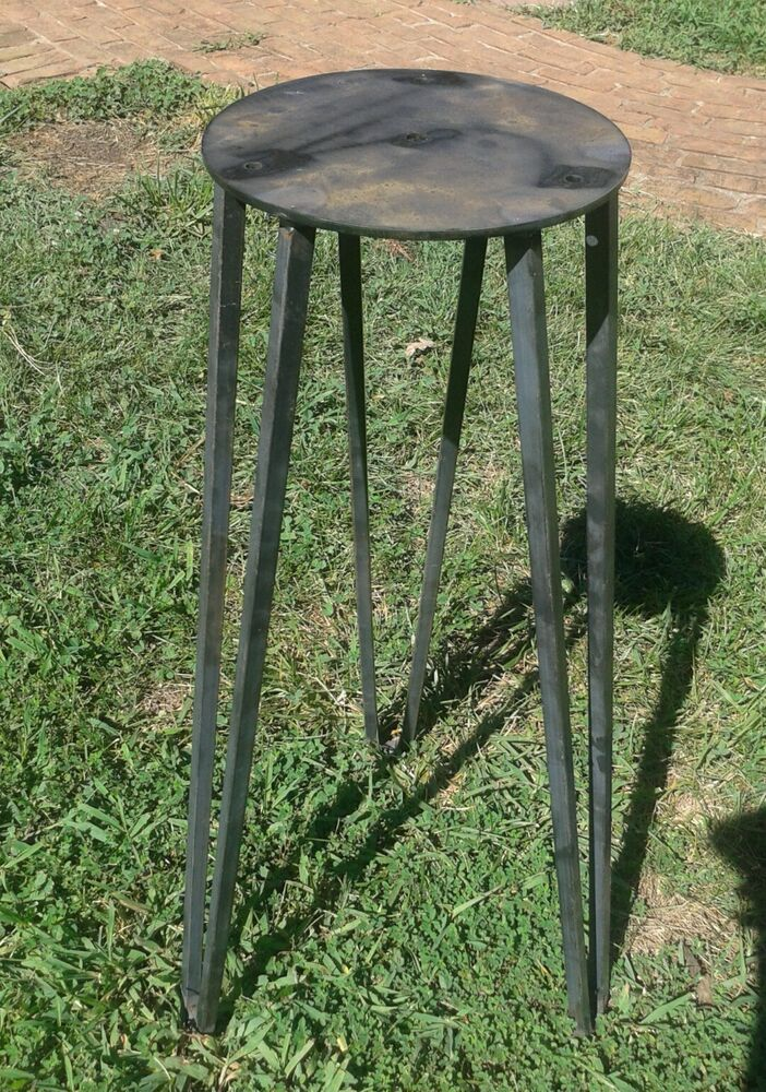 raw industrial 28 steel hairpin tripod table base square leg beeswax ebay. Black Bedroom Furniture Sets. Home Design Ideas