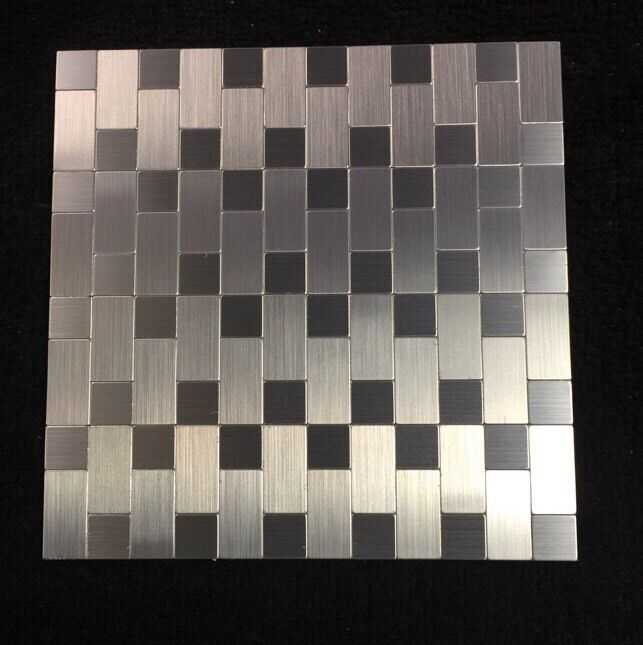 Instant Mosaic Brushed Stainless Silver Subway 12x12