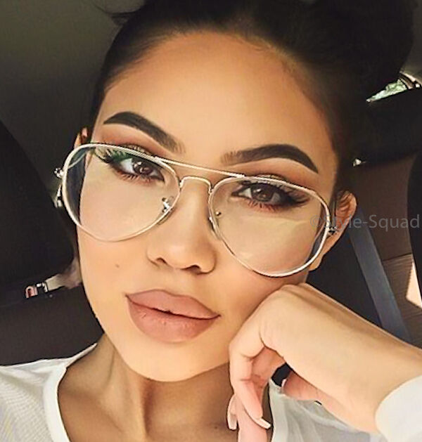 big large thin metal aviator clear lens glasses