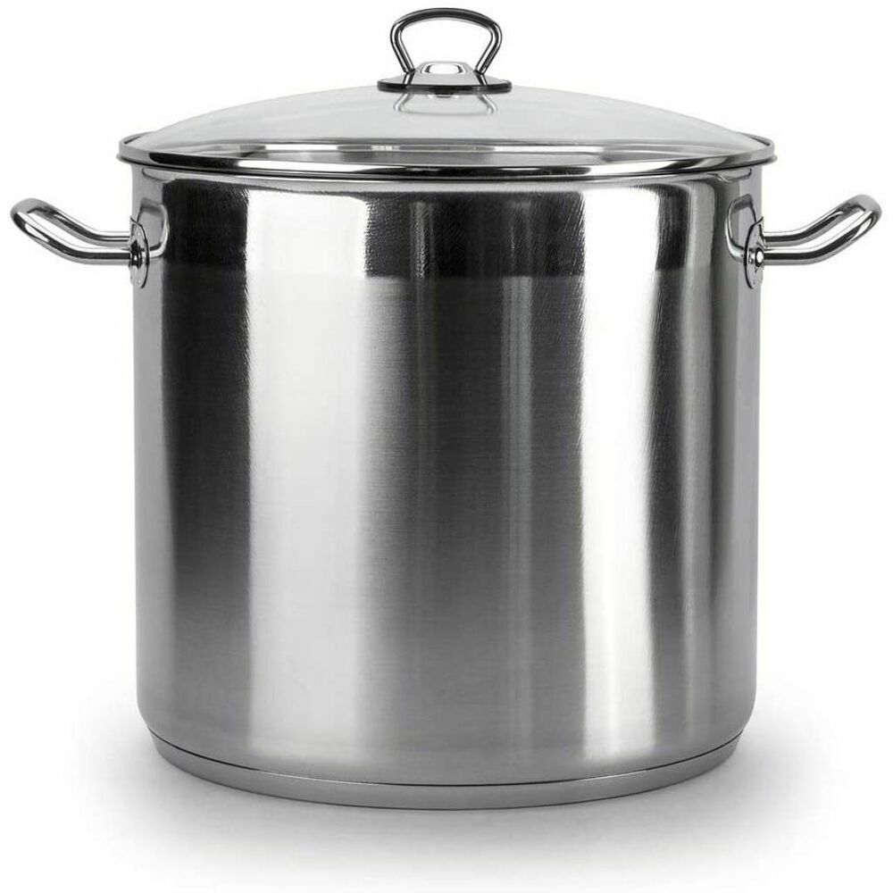 Induction Cooking Pots ~ Large deep stainless steel cooking stock pot casserole
