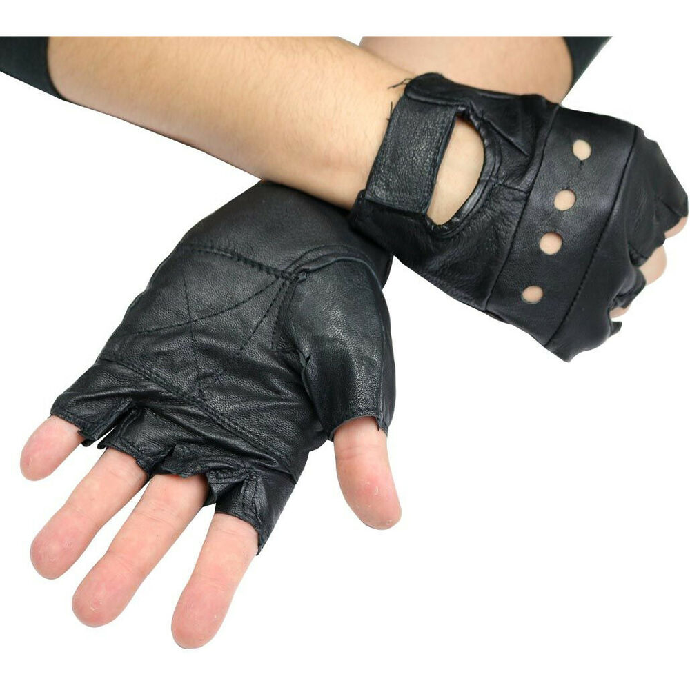 Gloves With Fingertips Out: MENS BLACK LEATHER FINGER LESS DRIVING MOTORCYCLE BIKER