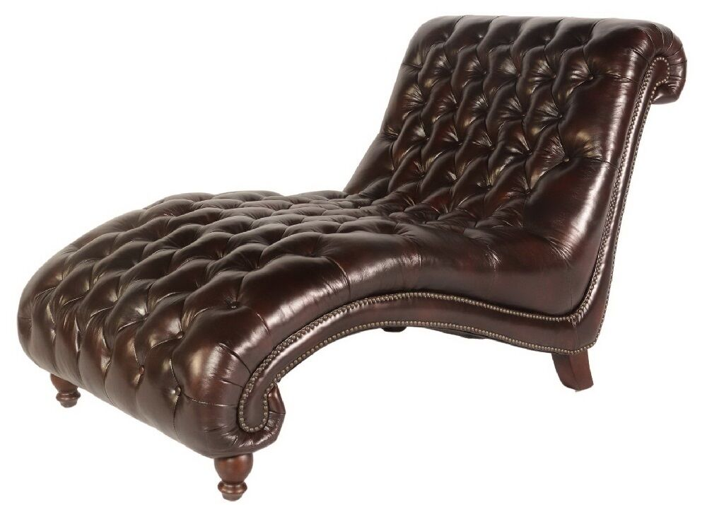 68 w modern chaise lounge chair vintage chocolate premium leather comfortable ebay. Black Bedroom Furniture Sets. Home Design Ideas