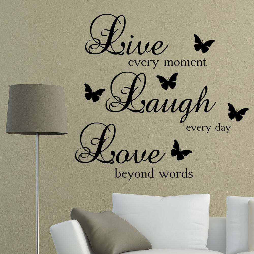 Live laugh love words wall art sticker quote living room for Living room decor quotes