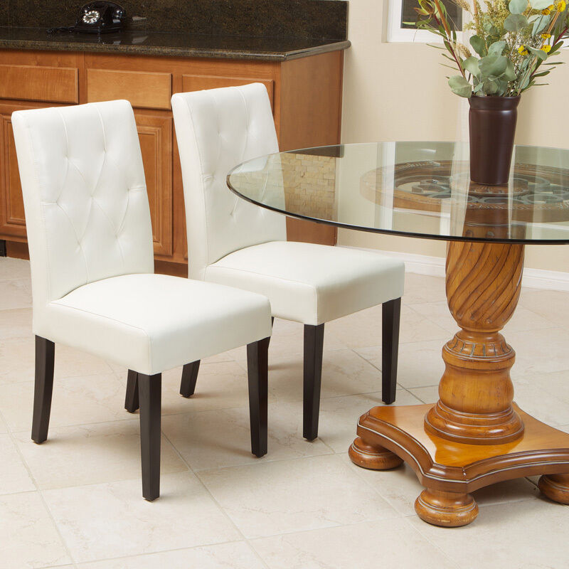 Set of 2 elegant ivory white leather dining room chairs w for Tufted leather dining room chairs