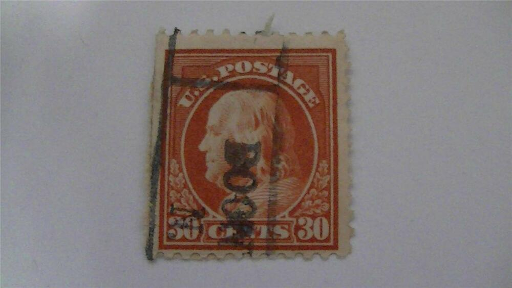 Vintage Orange Red Usa Used 30 Cent Stamp Ebay