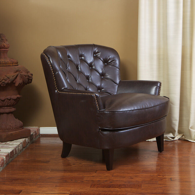 Brown Leather Upholstered Sofa Chair w Tufted Back  : s l1000 from www.ebay.com size 800 x 800 jpeg 89kB