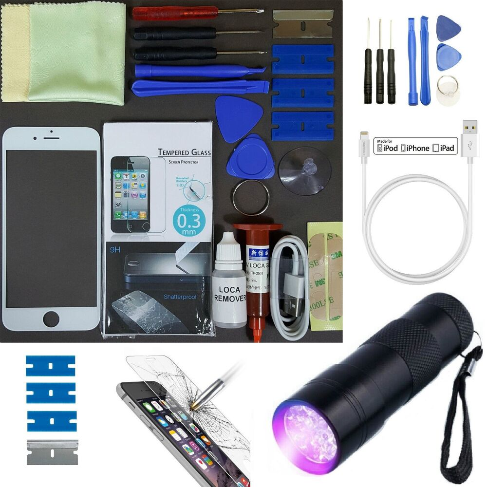 Apple iphone 6 replacement screen front glass repair kit white uv torch ebay - Kit reparation iphone 6 ...