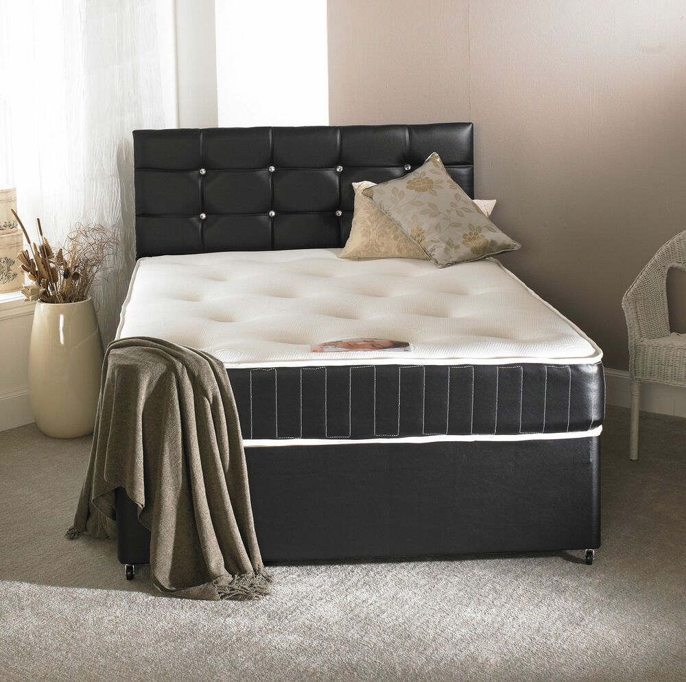 4ft small double black leather bed memory mattress. Black Bedroom Furniture Sets. Home Design Ideas