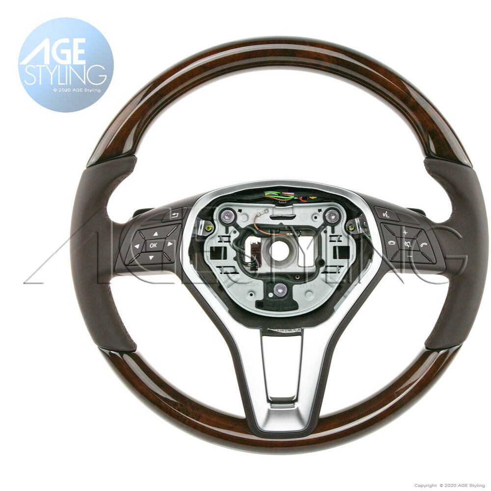 Mercedes e350 e500 e550 212 cls 218 wood leather steering for Mercedes benz wood steering wheel