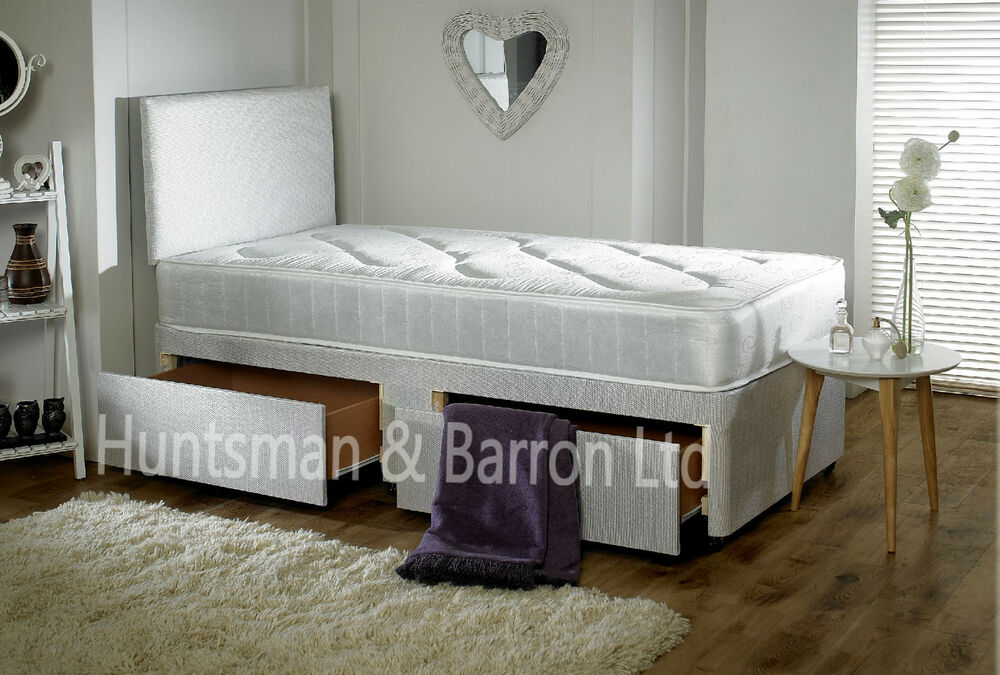 3ft single divan bed with mattress with drawers option for Single divan with drawers and headboard