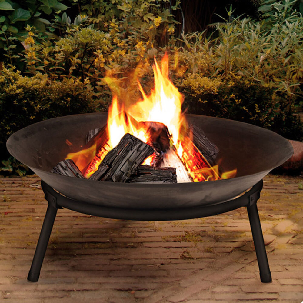 Cast iron garden fire pit basket patio heater log wood for Brasero de jardin