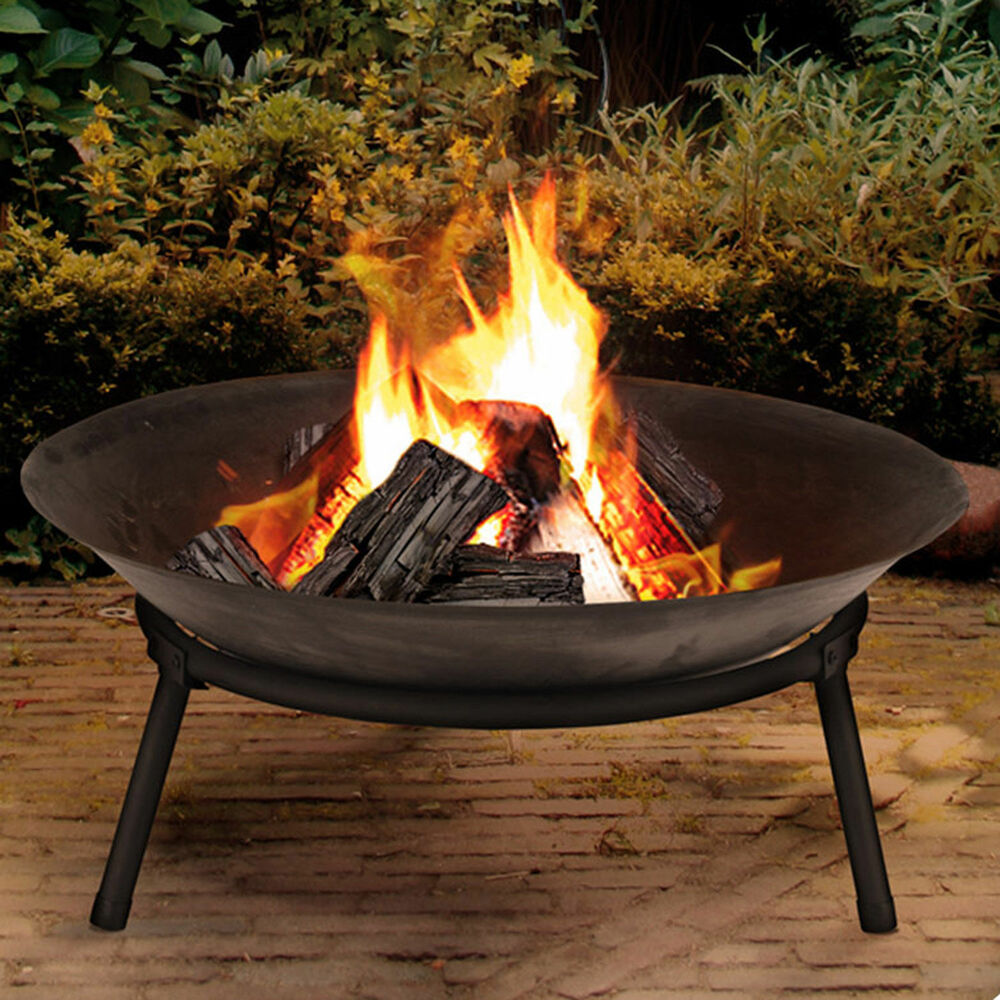 Cast iron garden fire pit basket patio heater log wood for Buy outdoor fire pit