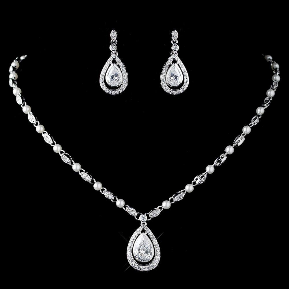 White Pearl Pendant Necklace: Wedding Bridal CZ Crystal & Diamond White Pearl Necklace