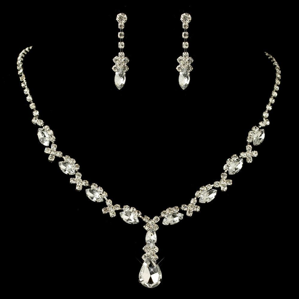 Bridal Silver Rhinestone Necklace U0026 Drop Earrings Bridal Wedding Jewelry Set | EBay