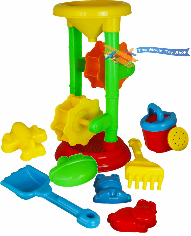 Kids sand and water mill play set sandpit beach garden toy for Gardening tools 94 game answers