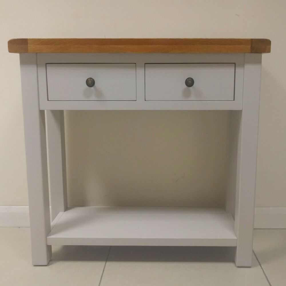 Swainswick stone grey painted oak 2 drawer console table for Painted foyer tables
