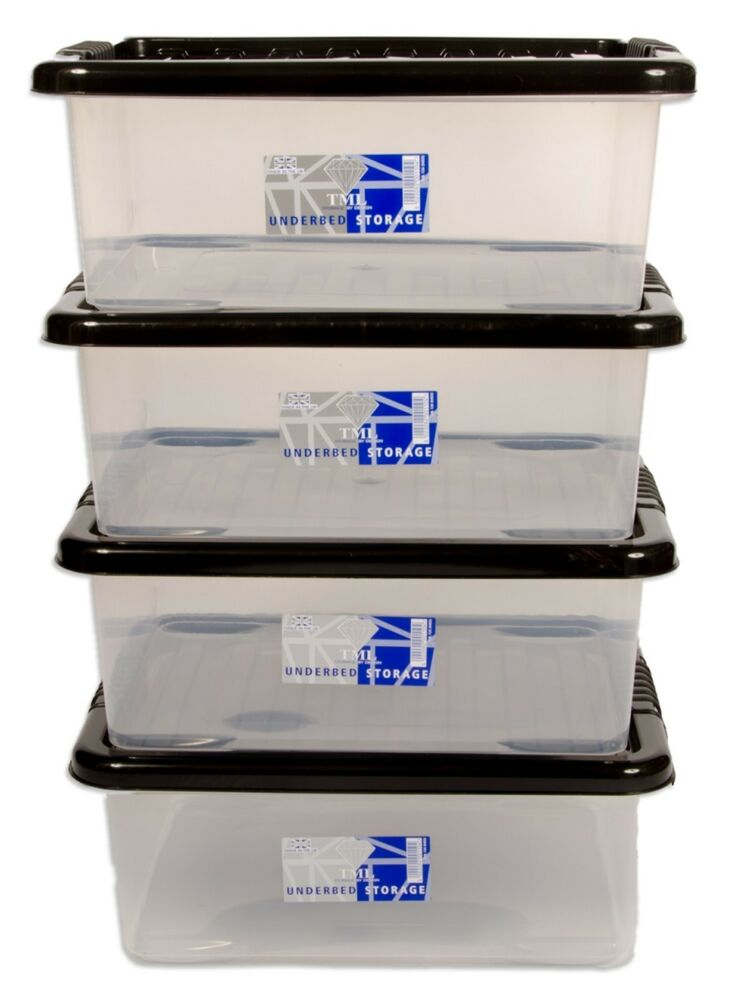 4 X 28l Underbed Plastic Storage Box Clear Container