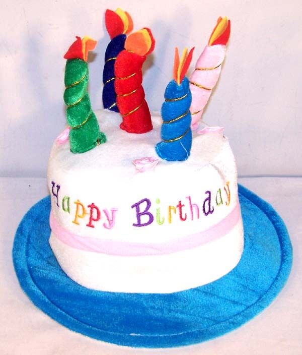 HAPPY BIRTHDAY CAKE BLUE PARTY HAT Cap Candle Supplies Weird Fun Headwear