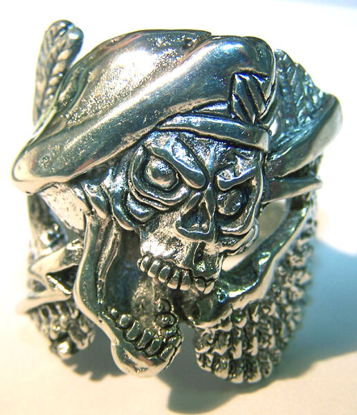 Green Beret Soldier Skull Wings Biker Ring Br148 Silver