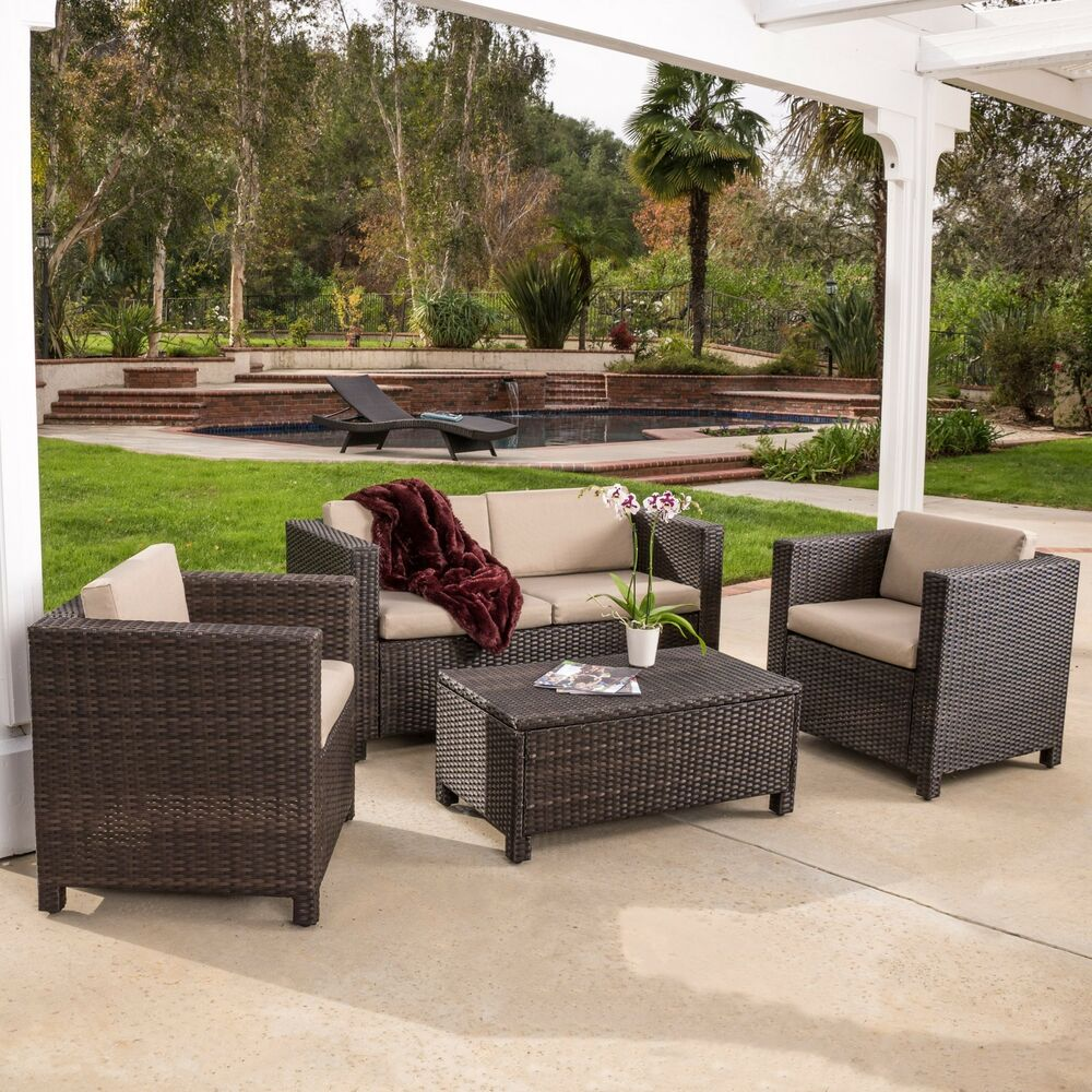 Outdoor patio furniture brown pe wicker 4pcs sofa seating for Patio furniture for narrow balcony