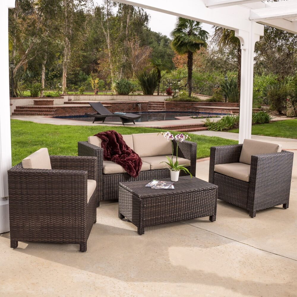Outdoor patio furniture brown pe wicker 4pcs sofa seating for Wicker patio furniture