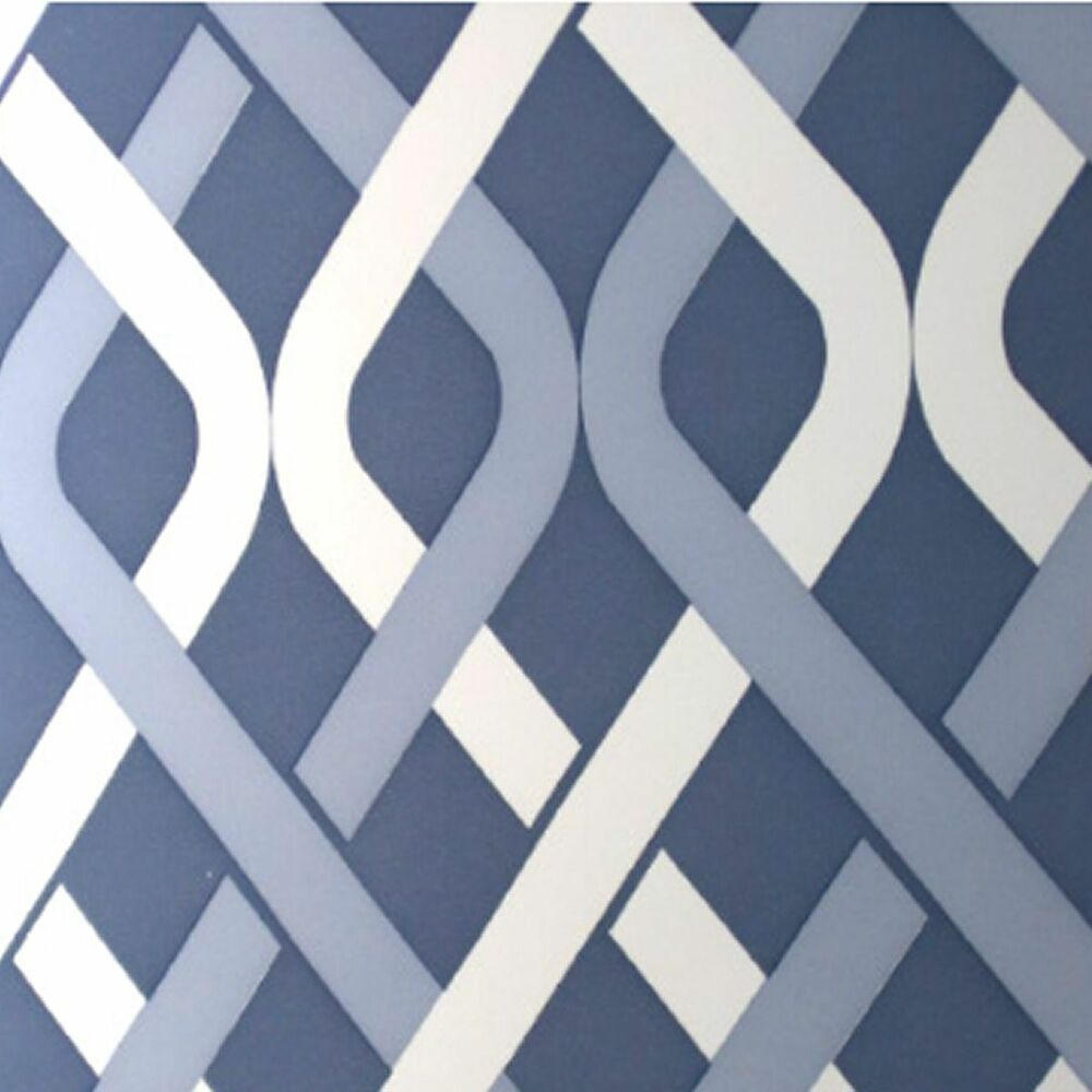 1970s mod geometric gillian blue mid century modern wallpaper 1960s vintage orig ebay. Black Bedroom Furniture Sets. Home Design Ideas