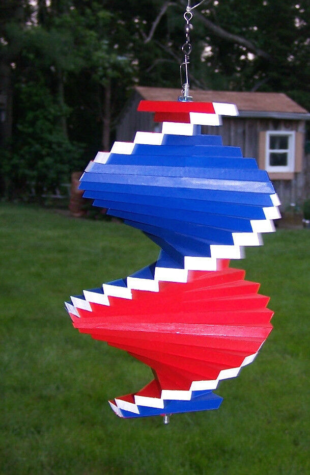 Red White Blue 4th Of July Wood Wooden Spinner Patio Porch