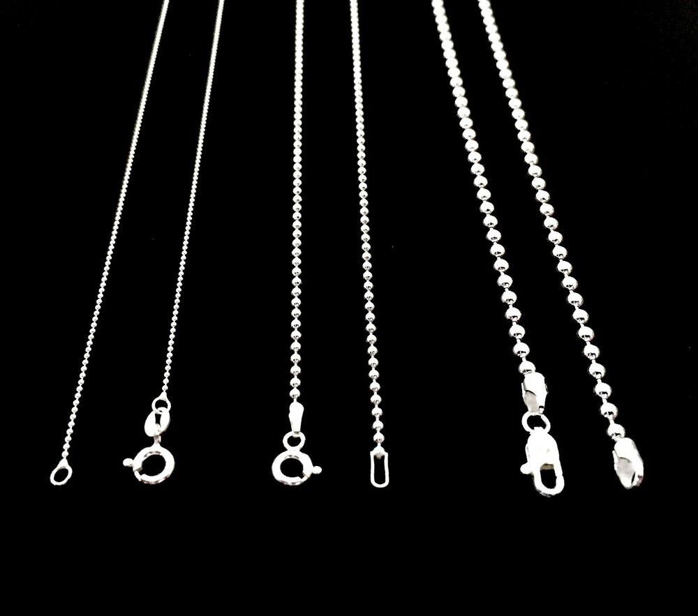 New Stainless Steel Zodiac Dog Tag Pendant Men S Women S: NEW SOLID 925 STERLING SILVER BEAD BALL CHAIN DOG TAG