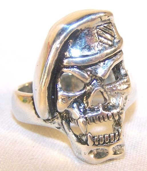 MILITARY SOLDIER BIKER RING BR124 HEAVY silver SKULL ...