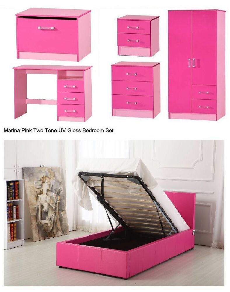 high gloss pink bedroom furniture set wardrobe