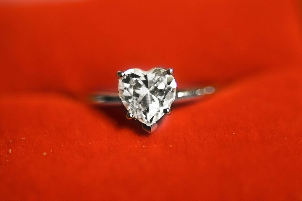 1 5 CT Brilliant Heart Shaped Cut Solitaire Engagement Ring Solid 14k White G